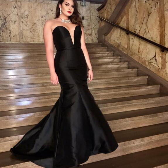 Sexy Plus Size Prom Dress, Black Prom Dresses, Satin Long Evening Dress, Sweetheart Prom Dresses Formal Dress