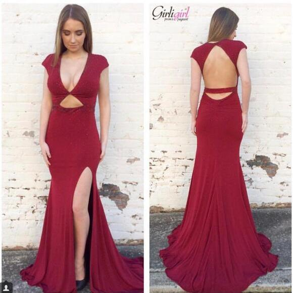 2018 Sexy Prom Dress, Burgundy Prom Dresses, Satin Evening Dress, V-neck Prom Dresses Formal Dress,Backless Occasional Dress