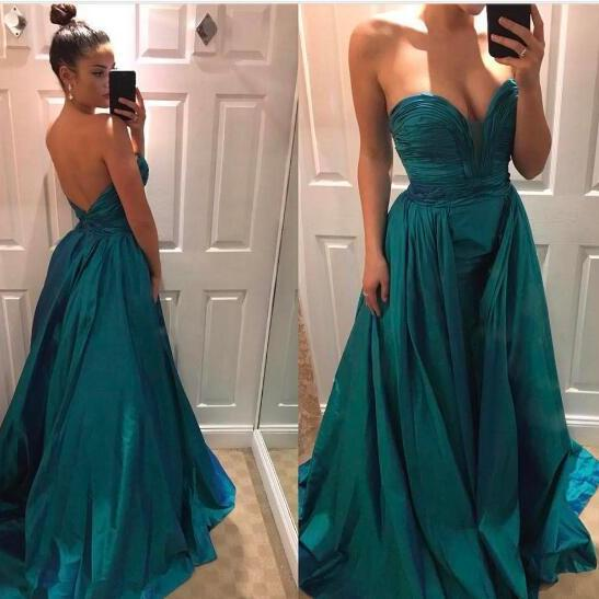 2018 Sexy Prom Dress, Hunter Green Mermaid Prom Dresses, Satin with Detachable Train Evening Dress, Sweetheart Prom Dresses Formal Dress