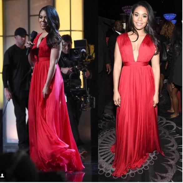 Sexy Prom Dress, A-line Red Prom Dresses,Long Evening Dress, Deep V-neck Chiffon Prom Dresses Formal Dress