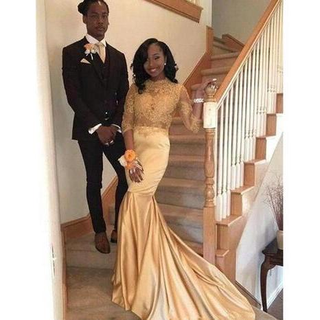 New Champagne Gold Lace Prom Dresses Appliques Mermaid Formal Evening Gowns 3/4 Long Sleeves African Prom Party Dresses Cheap Custom