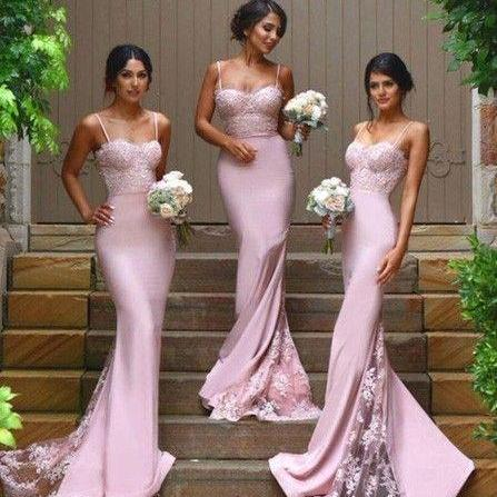 Sexy Bridesmaid Dress, Pink Spaghetti Straps Bridesmaid Dresses,Satin Bridsmaid Dress, Long Bridesaid Dresses