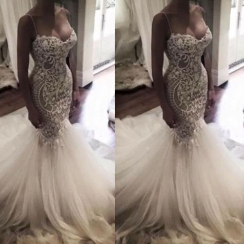 2018 Sexy Mermaid Wedding Dress, Lace Wedding Dresses. Spaghetti Straps Bridal Dress, Backless Long Bridal Gown