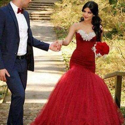 2018 Sexy Mermaid Wedding Dress,Red Wedding Dresses. Beads Sweetheart Tulle Bridal Dress, Long Bridal Gown