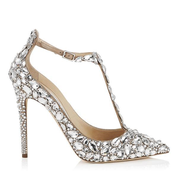 Pointed Toe T-Strap High Heel Pumps Adorned with Crystal Beadings, Bridal Shoes, Bridesmaids Shoes, Prom Heels