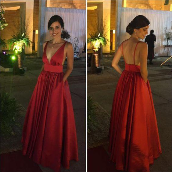 burgundy satin prom dress, v neck backless prom dress, simple long prom dress