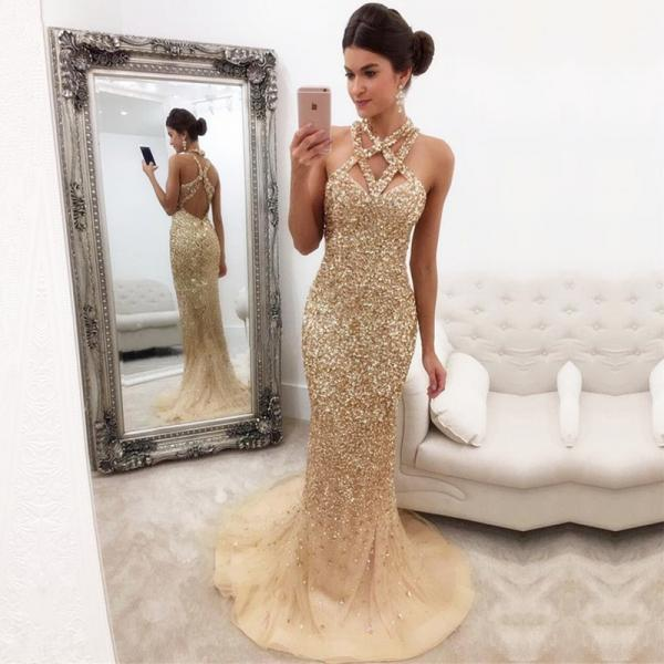 Gorgeous Sleeveless Zipper-Back Halter Mermaid Crystals Prom Dress