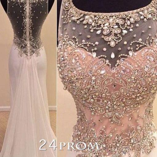 2016 Real Image Prom Dress Mermaid Light Pink Sheer Neck Crystals Beads Rhinestones Hollow Back Chiffon Long Formal Evening Party Gowns Vestidos