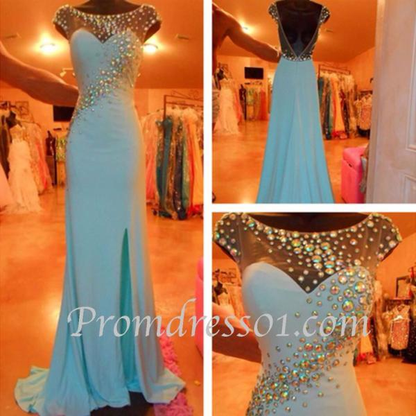 2016 Real Image Prom Dress Mermaid Turquoise Sheer Neck Crystals Beads Rhinestones Backless Side Slit Long Formal Evening Party Gowns Vestidos