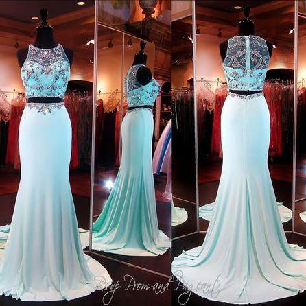 2016 Real Image Sexy Prom Dresses Two 2 Pieces Bling Luxury Sparkle Mermaid Sheer Neck Beads Rhinestones Crystals See-through Back Long Formal Evening Party Gowns Vestidos