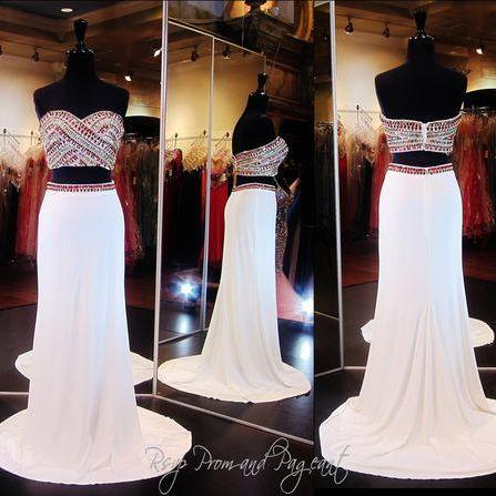 2016 Real Image Sexy Prom Dresses Two 2 Pieces Bling Luxury Sparkle Mermaid White Sheer Neck Beads Rhinestones Crystals Zipper Back Long Formal Evening Party Gowns Vestidos