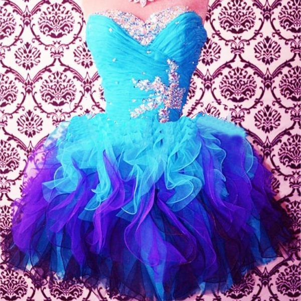 2016 Real Image Sexy Prom Dresses A-Line Blue Sweetheart Beads Rhinestones Crystals Lace Up Mini Short Organza Formal Evening Party Gowns Vestidos