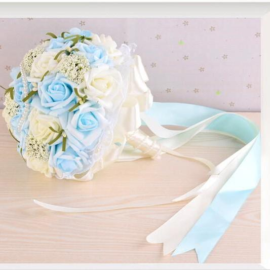 2016 Beautiful Blue Wedding Bouquet Bridal Bridesmaid Flower Wedding Bouquet Artificial Flower Rose Bouquet