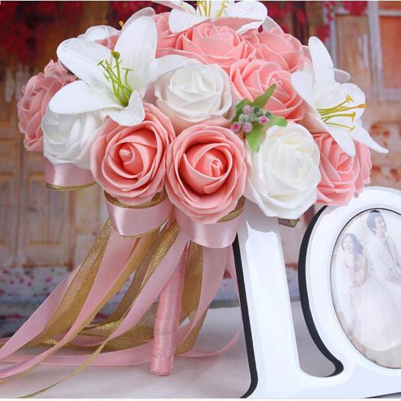 2016 Cheap Romantic White&Pink Bridal Bridesmaid Flowers Handmade Artificial Rose Wedding/Bridesmaid Bouquets Bridal Accessory