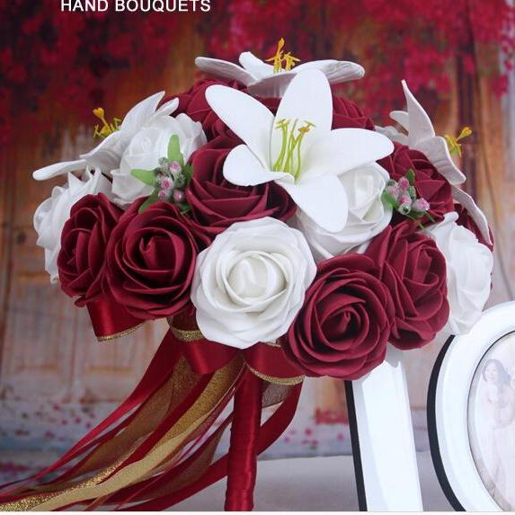2016 Cheap Romantic White&Red Wine/Burgundy Bridal Bridesmaid Flowers Handmade Artificial Rose Wedding/Bridesmaid Bouquets Bridal Accessory