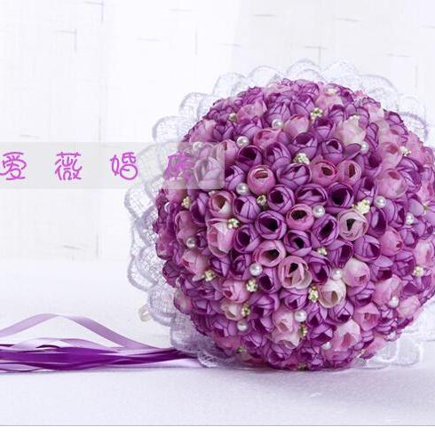 2016 New Arrival Flowers Cheap Romantic Dark Purple Bridal Bridesmaid Handmade Artificial Rose Wedding/Bridesmaid Bouquets