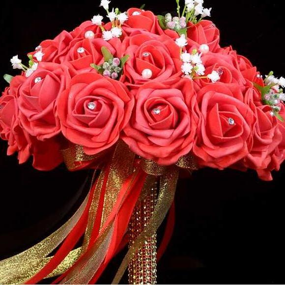 2016 New Arrival Flowers Cheap Romantic Red Bridal Bridesmaid Handmade Artificial Rose Wedding/Bridesmaid Bouquets