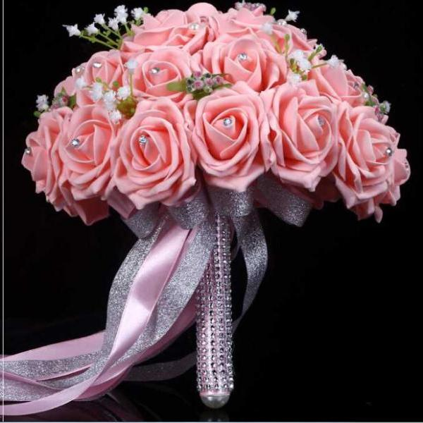 2016 New Arrival Flowers Cheap Romantic Pink Bridal Bridesmaid Handmade Artificial Rose Wedding/Bridesmaid Bouquets