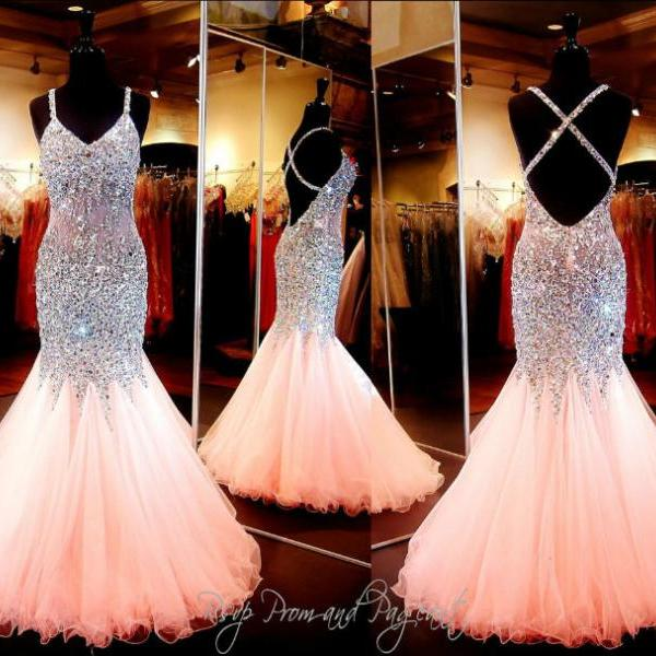 a3e21cb8f45 Gorgeous Coral Mermaid Prom Dresses 2016 V Neck Luxury Crystal Tulle Beaded  Backless Sequin Long Eve on Luulla