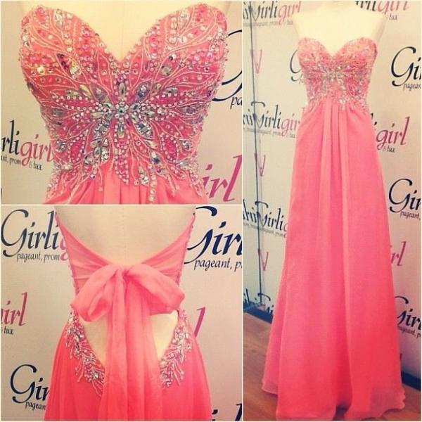 Watermelon Prom Dress Sweet Heart long Prom Dress sexy Beading Prom Dress new style Formal Prom Dress