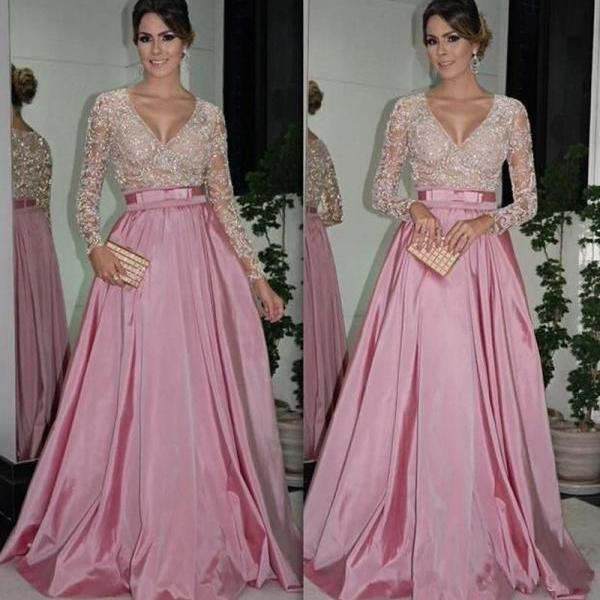 Sexy Long Sleeve Lace Eevening Dress Sequin Dubai Style A Line Formal Arabic Evening Gowns Dresses robe de soiree