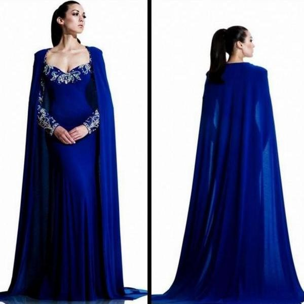 Royal Blue Dubai Long Sleeve Muslim Evening Dress Mermaid with Crystals Formal Arabic Style Evening Gowns Dresses robe de soiree