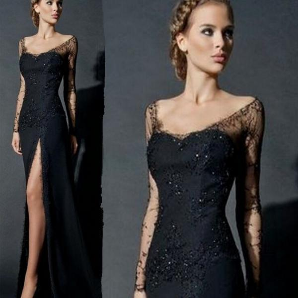 Sexy Side Slit Long Sleeves Lace Evening Dress Black Women Chiffon Formal Lace Evening Gowns China robe de soiree abendkleider