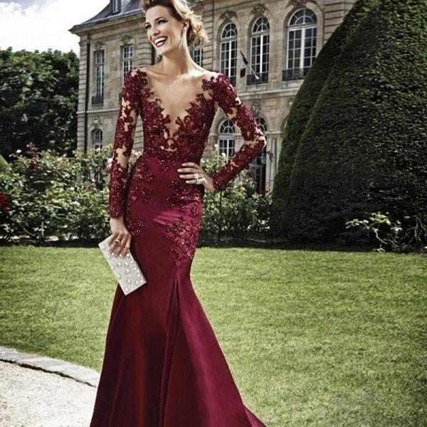Sexy See Through Long Sleeve Lace Mermaid Burgundy Prom Dresses vestido formatura ballkleider