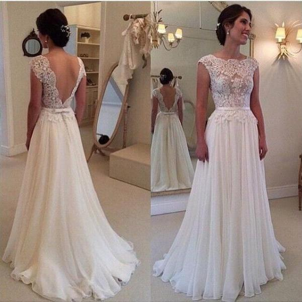 Custom Made White Dress For Wedding Stunning Vestidos De Noiva A Line Cap Sleeve Lace Backess Wedding Dress