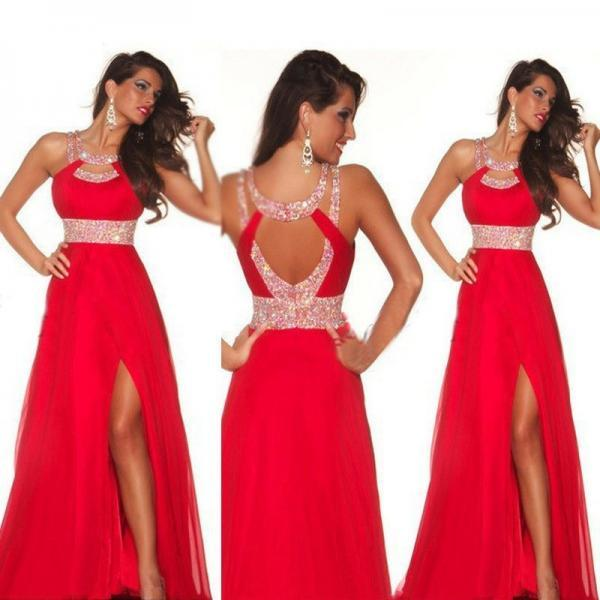 Sexy Red Prom Dress Vestido de festa Halter High Slit Floor Length Formal Party Prom Gown A Line Sequined Formal Dress