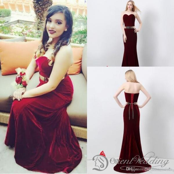 Real Pictures Mermaid Sweetheart Velvet Burgundy Metal Belt 48-hour Ship Evening Party Prom Dresses