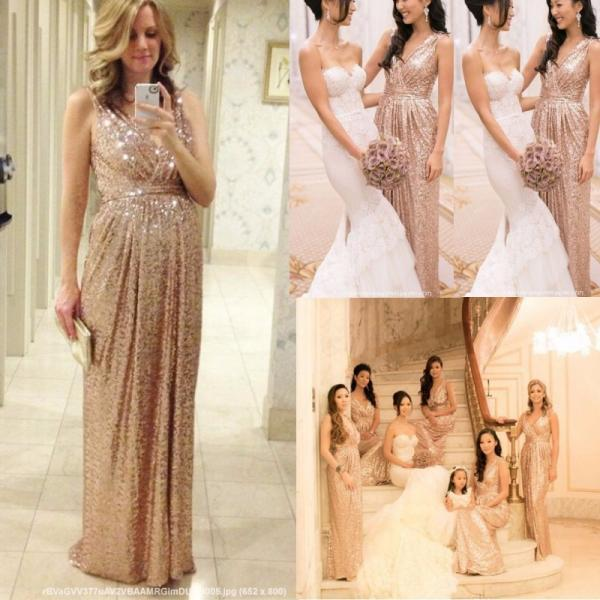 Rose Gold Bridesmaids Dresses Sequins Plus Size Custom Made Maid Of Honor Wedding Party Dress Cheap