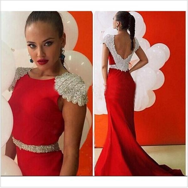 Custom Made Red Pearl Beaded Cap Sleeve Open Back Evening Dress with Long Train