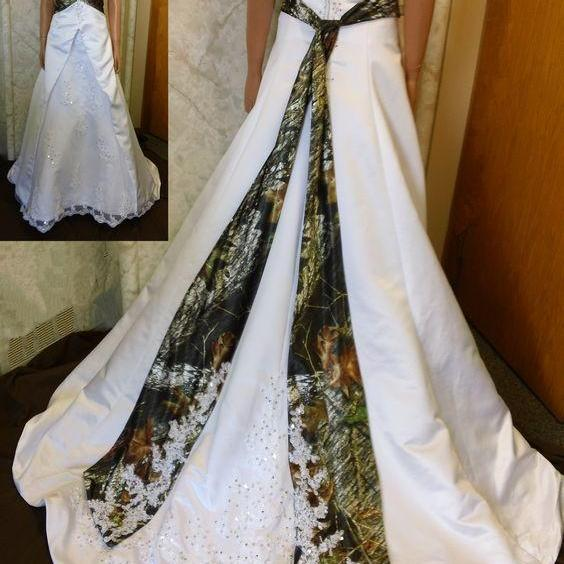 Cheap Camo Wedding Dresses Halter Lace-up Vestido De Noiva Custom Made Bridal Gown Wedding Dress