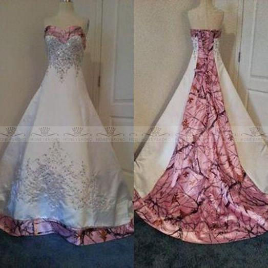 Cheap Camo Wedding Dresses Sweetheart Lace-up Vestido De Noiva Custom Made Bridal Gown Wedding Dress