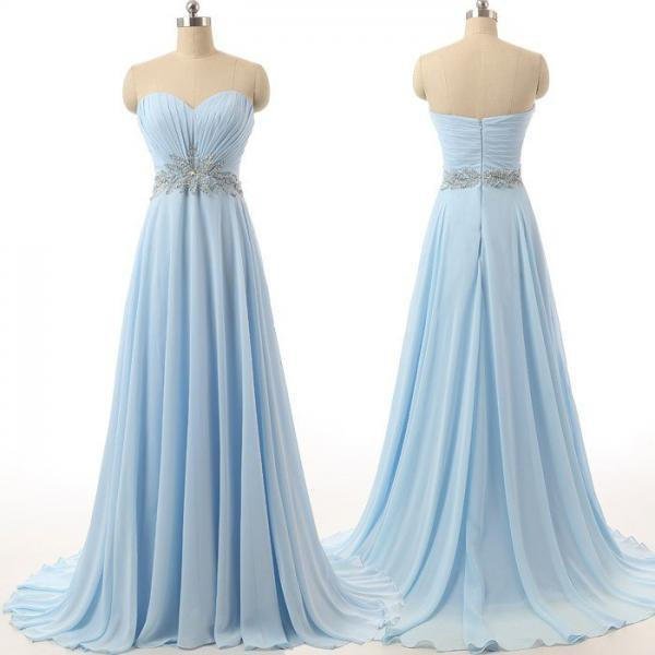 long prom dress,chiffon Prom Dress,sweetheart prom dress,blue prom dress,party prom dress