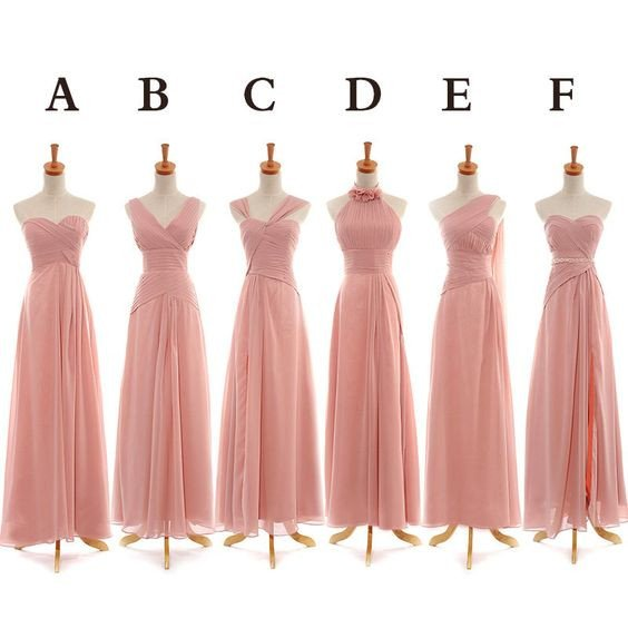 Custom Made Blush Pink Chiffon Evening Dress, Weddings, Bridesmaid Dresses, Graduation Dresses, Occassion Dresses