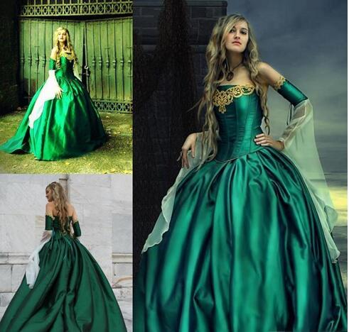 Gothic Wedding Dresses Halloween Victorian Bridal Gowns Long Sleeves Floor  Length Corset Back Plus Size Satin Hunt Green Embroidery