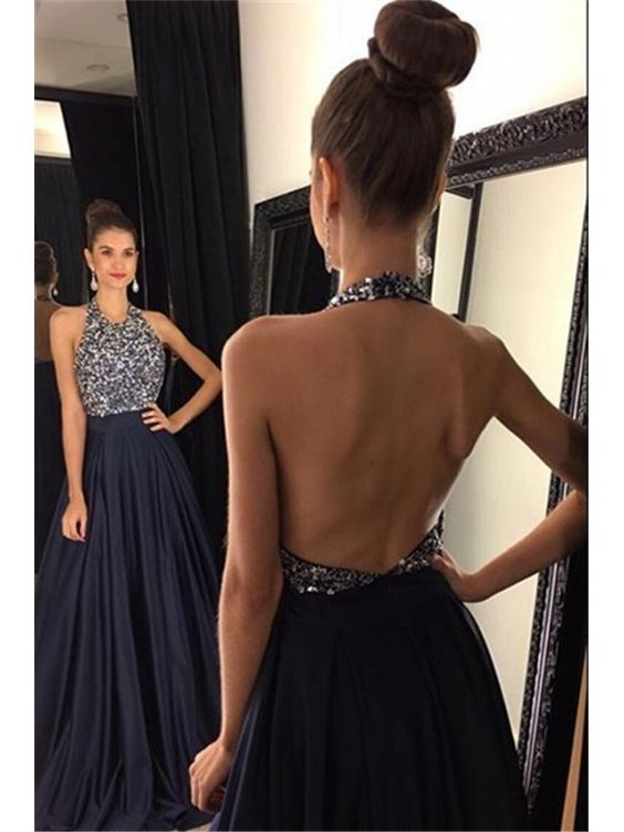 ff953e44cef2 2018 Sexy Dark Navy Prom Dress, A-line Prom Dresses, Halter Chiffon Evening  Dress, Long Evening Formal Dress