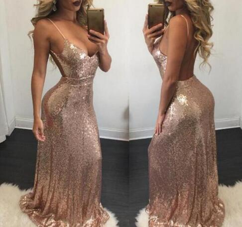 bc13badc3eae Backless Spaghetti-Strap Sexy Mermaid Evening Dresses Rose Gold Sequins  Prom Dresses Open Back Pageant Gowns Custom 2018